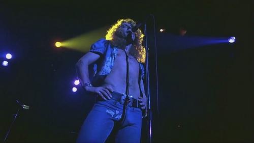 Led Zeppelin Sänger vor Mikro-Ständer
