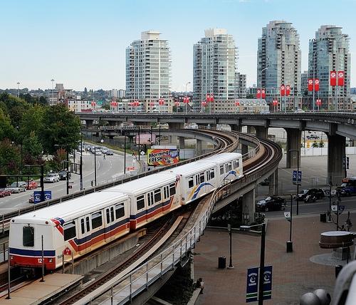TransLink SkyTrain departs Stadium-Chinatown station in Vancouver, British Columbia, Canada