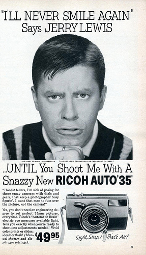 Jerry Lewis endorsing the Ricoh Auto 35 camera - 1960